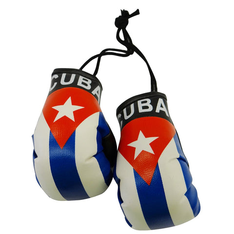 Flag Mini Small Boxing Gloves To Hang Over Car Automobile Mirror  Americas (Country: Cuba)