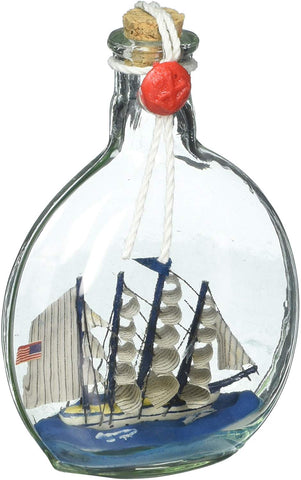 Hampton Nautical Flying Cloud Model Ship In A Glass Bottle Christmas Ornament, 4""