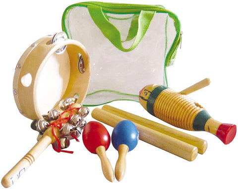 New Gp Percussion Gppk5G 5-Piece Percussion Pack With Bag - Includes Tambourine, Guiro, Maracas, Sleigh Bell, Wood Claves And Zippered Case