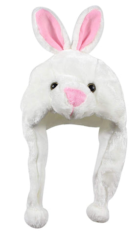 Bioterti Plush Fun Animal Hats One Size Cap - 100% Polyester With Fleece Lining (White Bunny)