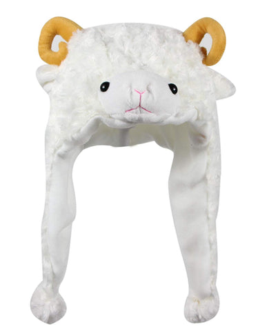 Bioterti Plush Fun Animal Hats One Size Cap - 100% Polyester With Fleece Lining (White Sheep)