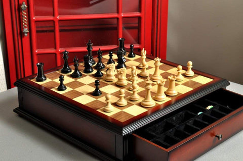 "The Collector Series Library Chess Set, Box, Board Combination - 3.0"" King - Genuine Ebony"