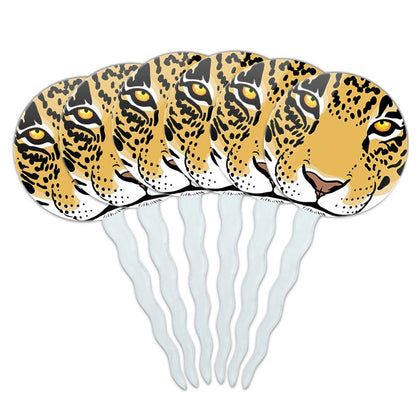 Set Of 6 Cupcake Picks Toppers Decoration Animals Going On Safari - Leopard Face Safari