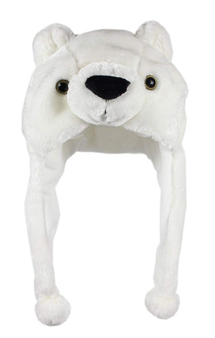 Bioterti Plush Fun Animal Hats One Size Cap - 100% Polyester With Fleece Lining (White Bear)