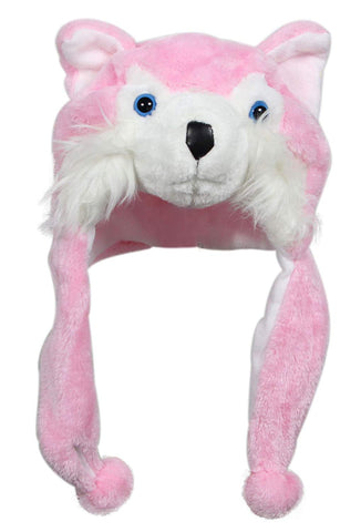 Bioterti Plush Fun Animal Hats One Size Cap - 100% Polyester With Fleece Lining (Pink Husky)