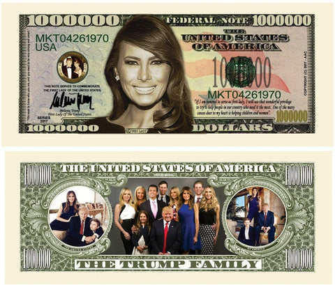 100 Melania Trump First Lady First Family Million Dollar Bills With Bonus Thanks A Million Gift Card Set
