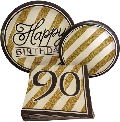 Black And Gold Happy 90Th Birthday Party Bundle With Paper Plates And Napkins For 8 Guests