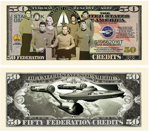 5 Limited Edition Star Trek 50Th Anniversary Collectible Bills With Bonus Thanks A Million Gift Card Set