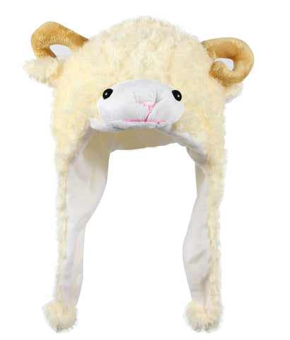 Bioterti Plush Fun Animal Hats One Size Cap - 100% Polyester With Fleece Lining (Beige Sheep)