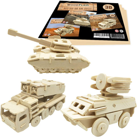 Woodflair 3D Wooden Puzzle, Set Of 3, Army