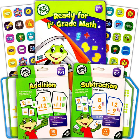Leapfrog Math Flash Cards And Workbook Set For Grades K-1 (Addition Cards, Subtraction Cards, Workbook, Stickers) (Math Set (Flash Cards W Workbook))