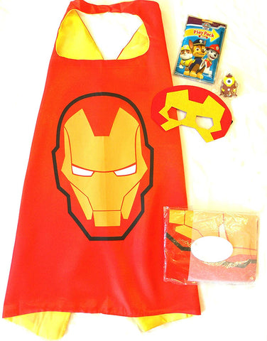 Three Piece Superhero Cape And Mask Sets For Pretend Play, Dress Up, And Parties (Iron Man)