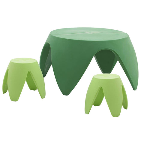 Ecr4Kids Blossom Table And Stool Indoor/Outdoor Furniture Set, Green (3-Piece)