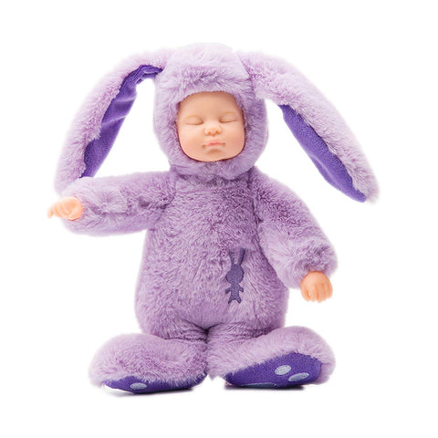 Gloveleya Sleeping Newborn Baby Dolls Silicone Lifelike Baby Toys Wearing Soft Rabbit Romper Toy Gift For Boys Girls 9""