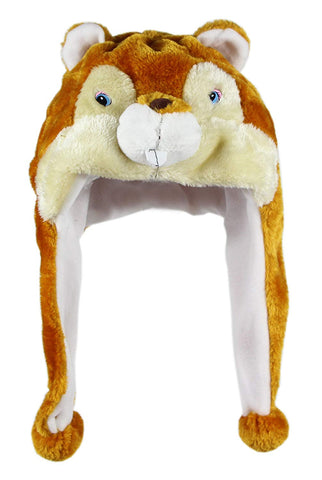 Bioterti Plush Fun Animal Hats One Size Cap - 100% Polyester With Fleece Lining (Squirrel)