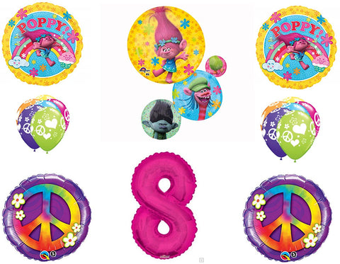 Trolls Peace 8Th Happy Birthday Party Balloons Decoration Supplies Poppy Branch Movie