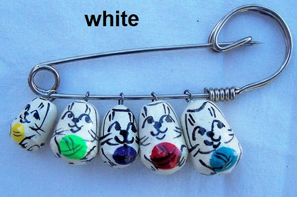2 Cats Pins Your Choice:Mixed; Grey; White; Yyellow; Black Brooch Russian Nesting Doll Matryoshka White