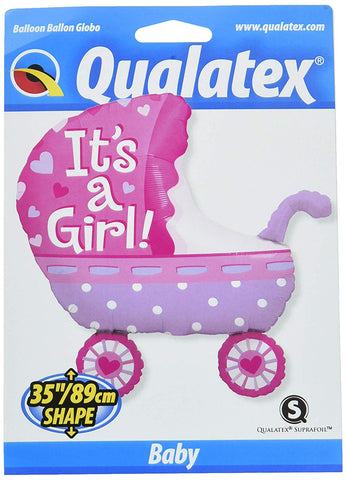"Qualatex Foil Balloon 043289 It'S A It'S A Girl Baby Stroller, 35"", Multicolor"
