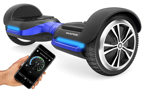 Swagtron App-Enabled T580 Bluetooth Hoverboard W/Speaker Smart Self-Balancing Wheel  Available On Iphone & Android (Blue)