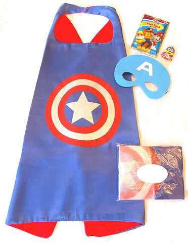 Three Piece Superhero Cape And Mask Sets With Bonus Prize For Pretend Play, Dress Up, And Parties (Captain America)