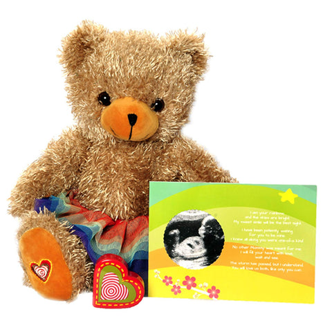 "My Baby'S Heartbeat Bear - The Rainbow Baby Recordable Stuffed Animal Kit Includes 13"" Fluffy Tan Bear W/Rainbow Tutu 20 Sec. Recorder And A Rainbow Baby Ultrasound Card - Rainbow Teddy With Tutu"