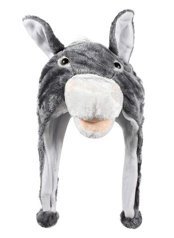 Bioterti Plush Fun Animal Hats One Size Cap - 100% Polyester With Fleece Lining (Donkey)
