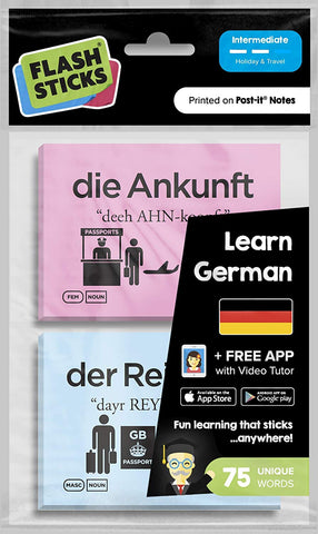 Flashsticks German Post-It Notes (75 Words) | Essential German Vocabulary For Holiday And Travel To Germany | Fun And Effective Way To Make Language Learning Part Of Your Daily Routine + Free App.