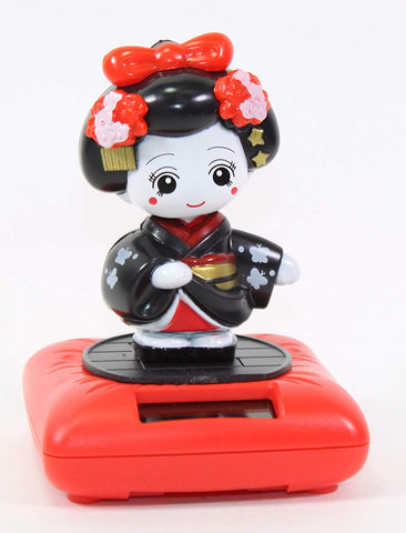Black Standing Geisha Red Base Solar Powered Japanese Kimono Girl Car Bobble Head Doll Toy Home Decor Figurine Birthday Blessing Gift Us Seller