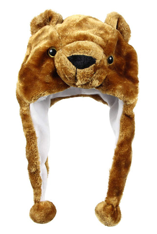 Bioterti Plush Fun Animal Hats One Size Cap - 100% Polyester With Fleece Lining (Brown-Bear)