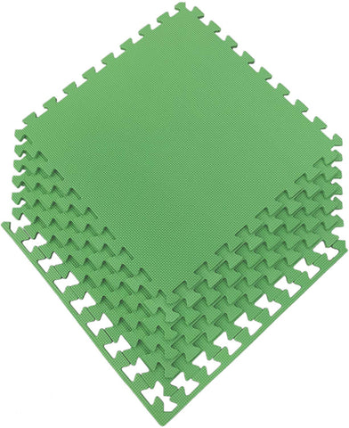 "Ottomanson Multipurpose Interlocking Puzzle Eva Foam Tiles-Anti-Fatigue Mat 24 Sq. Ft, 24"" X 24"" Tiles, Green"