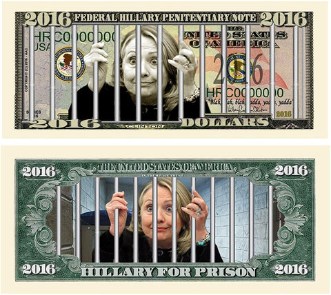 25 Limited Edition Hillary For Prison 2016 Dollar Bills With Bonus Thanks A Million Gift Card Set