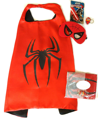 Superhero Cape And Mask Sets For Pretend Play, Dress Up, And Parties (Spiderman)