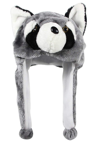 Bioterti Plush Fun Animal Hats One Size Cap - 100% Polyester With Fleece Lining (Raccoon)