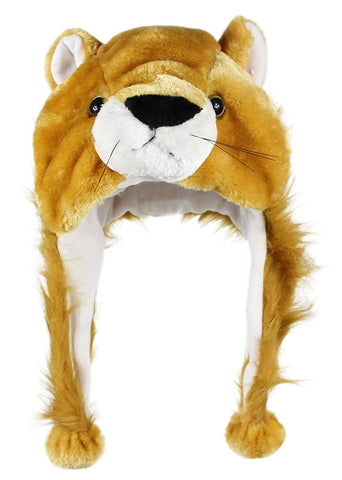 Bioterti Plush Fun Animal Hats One Size Cap - 100% Polyester With Fleece Lining (Lion)