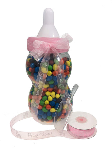 "13.5"" Inch Plastic Milk Bottle - Baby Shower Game, Fillable Baby Shower Bank Plastic Decoration Centerpiece (Pink)"