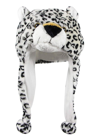Bioterti Plush Fun Animal Hats One Size Cap - 100% Polyester With Fleece Lining (White Leopard)