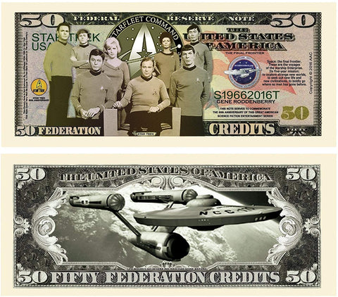 100 Limited Edition Star Trek 50Th Anniversary Collectible Bills With Bonus Thanks A Million Gift Card Set
