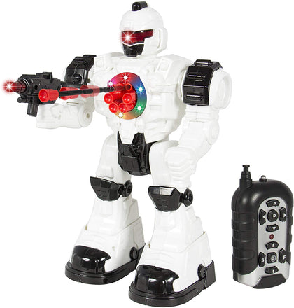 Best Choice Products Rc Walking And Shooting Robot Toy W/ Lights And Sound Effects - White/Black