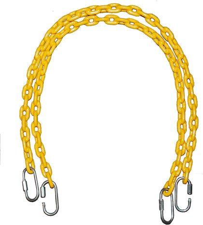 "Playkids (2) 40"" Fully Coated Chains + 4 Free Quick Links - Yellow (Water-Resistant)"