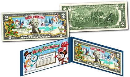 Merry Christmas * Snowman * Xmas Official Genuine Legal Tender U.S. $2 Bill