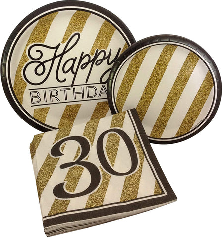 Black And Gold Happy 30Th Birthday Party Bundle With Paper Plates And Napkins For 8 Guests