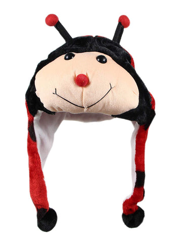 Bioterti Plush Fun Animal Hats One Size Cap - 100% Polyester With Fleece Lining (Ladybug)