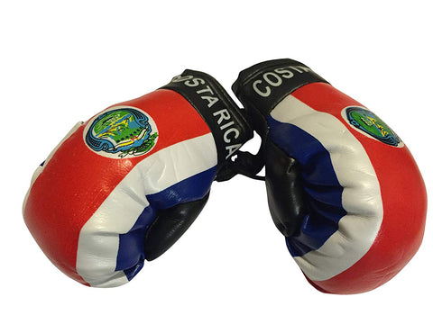 Flag Mini Small Boxing Gloves To Hang Over Car Automobile Mirror  Americas (Country: Costa Rica)