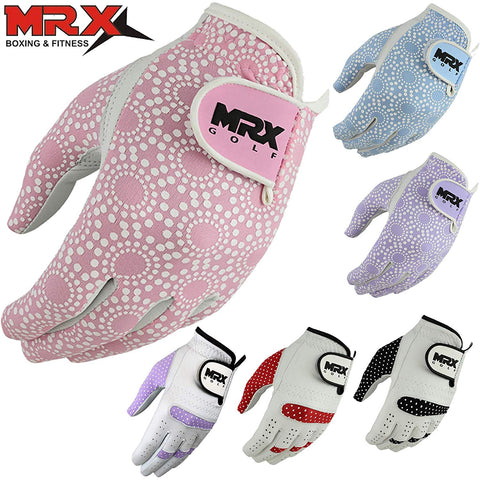 Mrx Boxing & Fitness Women'S Golf Glove Soft Cabretta Leather Regular Fit Women Golfer Gloves Left Hand (Pink-Large)