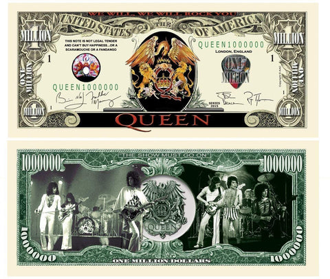 5 Queen Million Dollar Collectible Bills With Bonus Thanks A Million Gift Card Set