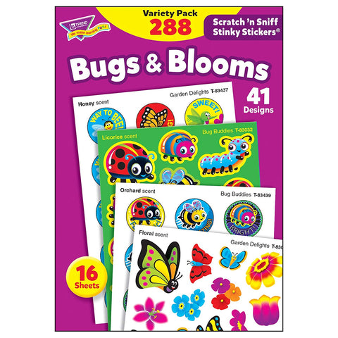 Trend Enterprises, Inc. T-83916 Bugs & Blooms Stinky Stickers Variety Pack, 288/Pack