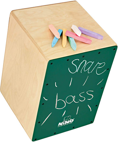 Nino Percussion Nino951Dg Chalkboard Cajon With Internal Snares, Includes Pack Of Chalk