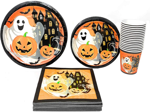 Clever Home Happy Halloween Jack 'O Lantern 88 Piece Paper Plates, Cups, And Napkins - Serves 16