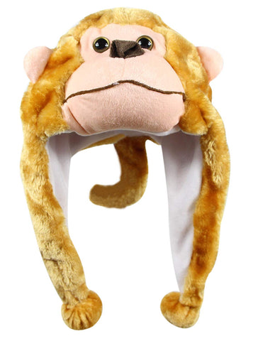 Bioterti Plush Fun Animal Hats One Size Cap - 100% Polyester With Fleece Lining (Monkey)