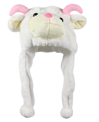 Bioterti Plush Fun Animal Hats One Size Cap - 100% Polyester With Fleece Lining (White Goat)